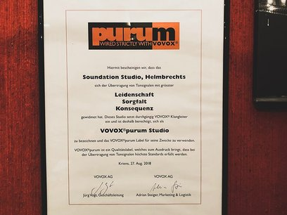 VOVOX Purum certificate posted at Soundation Studio
